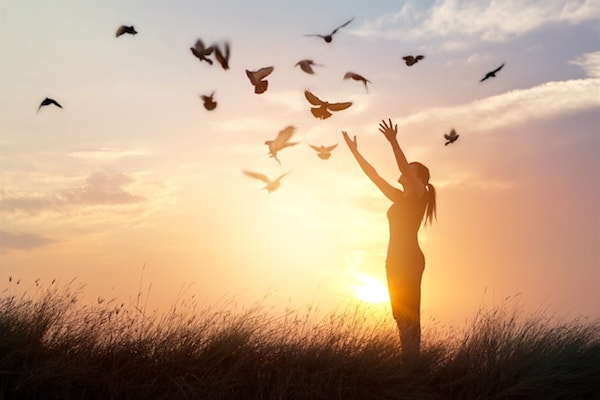 silhouette of a woman holding out her hands to a flock of birds at sunset