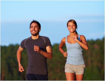 a couple jogging together
